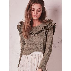 LoveShackFancy Natalie Ruffle Pointelle Sweater